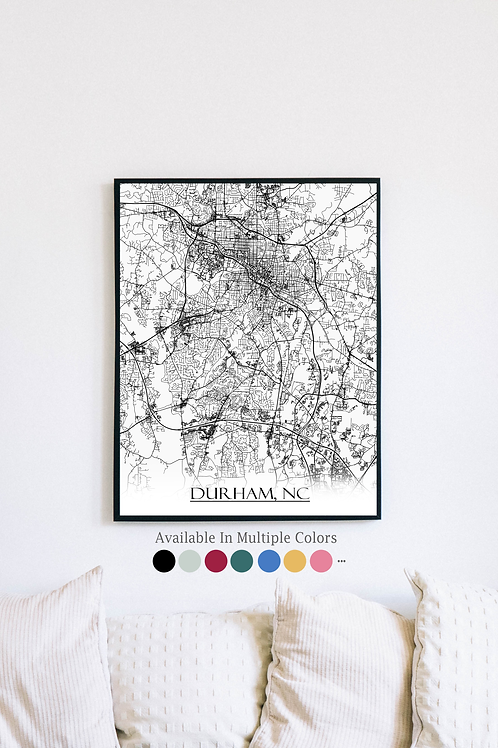 Print of Durham, NC and all its roads