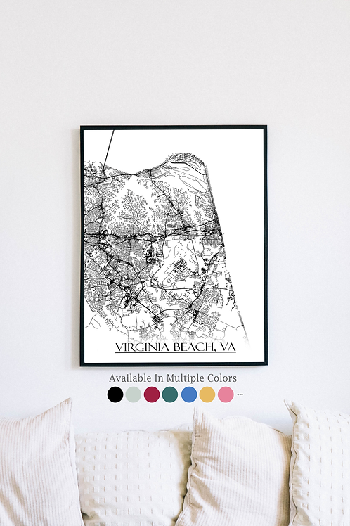 Print of Virginia Beach, VA and all its roads