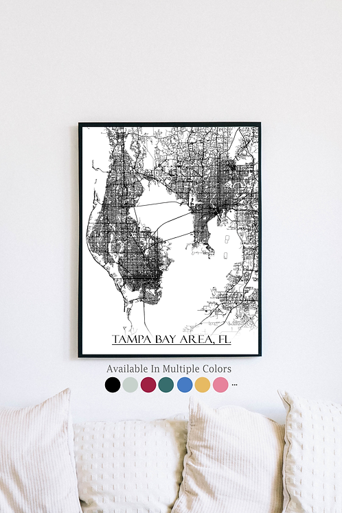 Print of Tampa Bay Area, FL and all its roads