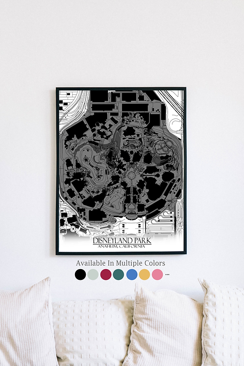 Print of Disneyland Park and all its roads
