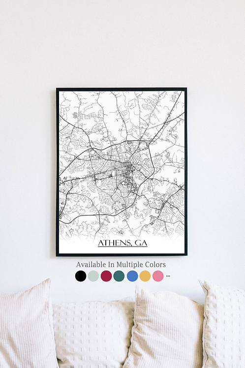Print of Athens, GA and all its roads
