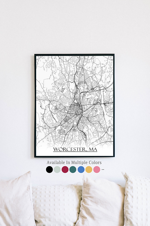 Print of Worcester, MA and all its roads