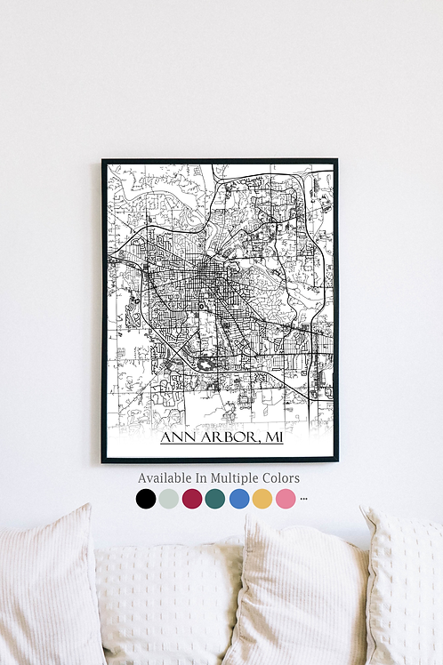 Print of Ann Arbor, MI and all its roads