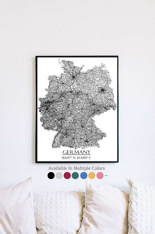Print of Germany and all its roads