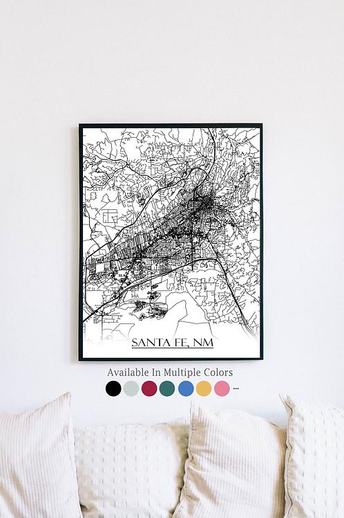 Print of Santa Fe, NM and all its roads