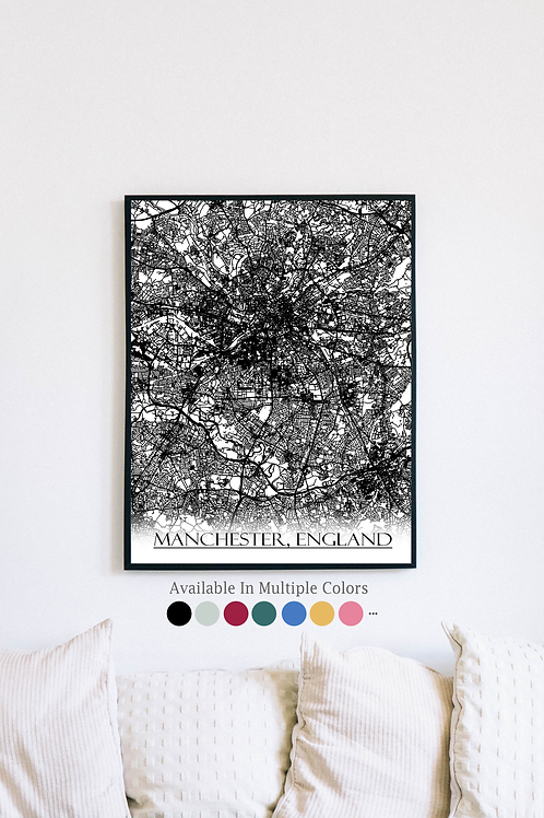 Print of Manchester, England and all its roads