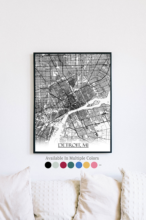 Print of Detroit, MI and all its roads
