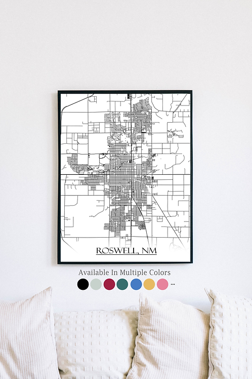 Print of Roswell, NM and all its roads