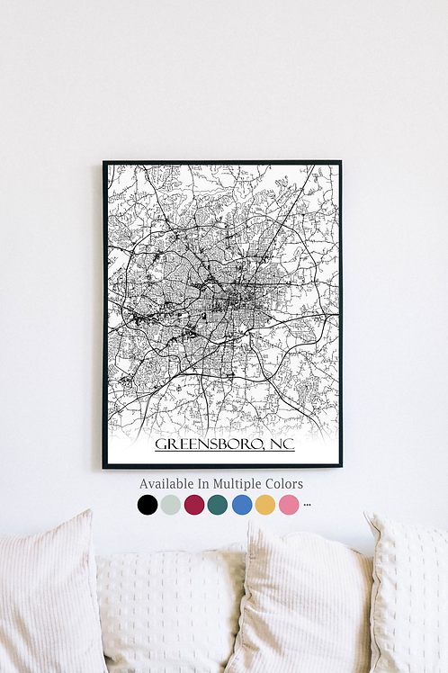 Print of Greensboro, NC and all its roads