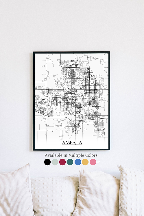 Print of Ames, IA and all its roads