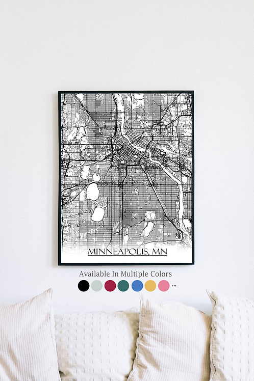 Print of Minneapolis, MN and all its roads