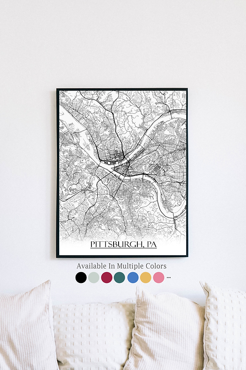 Print of Pittsburg, PA and all its roads
