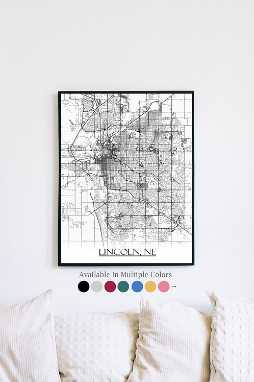 Print of Lincoln, NE and all its roads