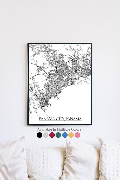 Print of Panama City, Panama and all its roads
