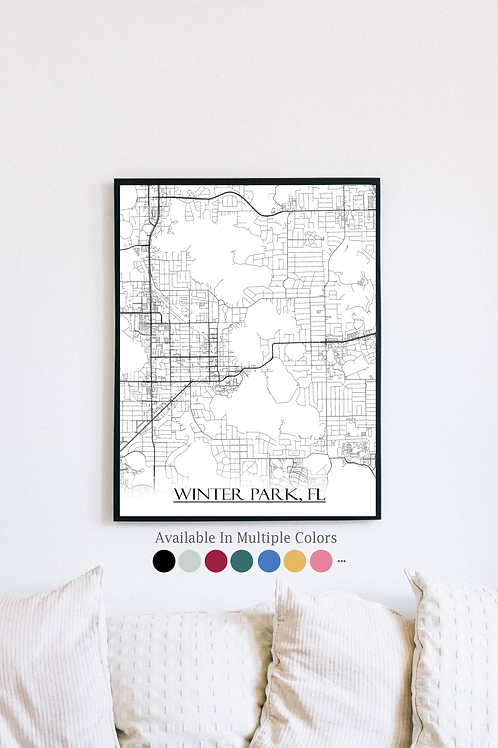 Print of Winter Park, FL and all its roads