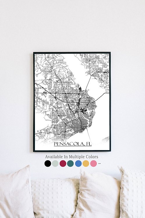 Print of Pensacola, FL and all its roads