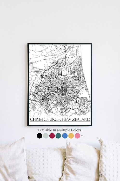 Print of Christchurch, New Zealand and all its roads