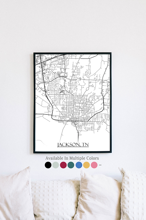Print of Jackson, TN and all its roads