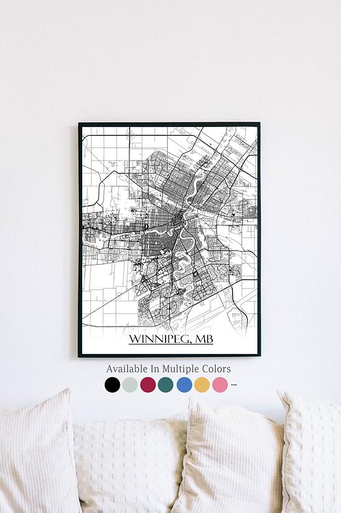 Print of Winnipeg and all its roads