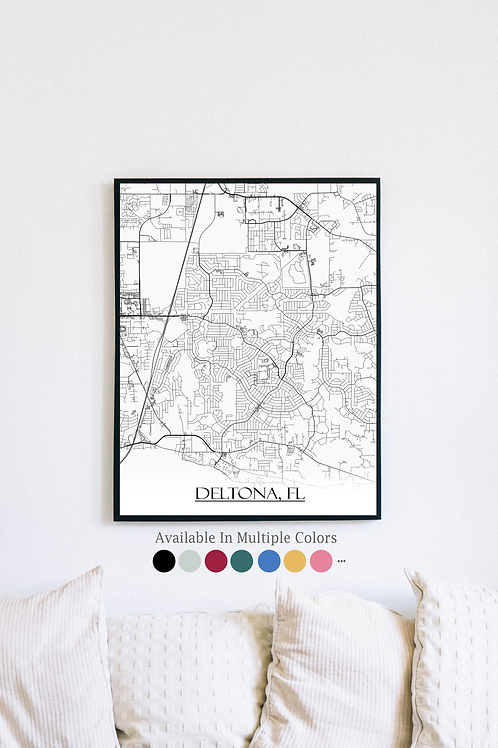 Print of Deltona, FL and all its roads