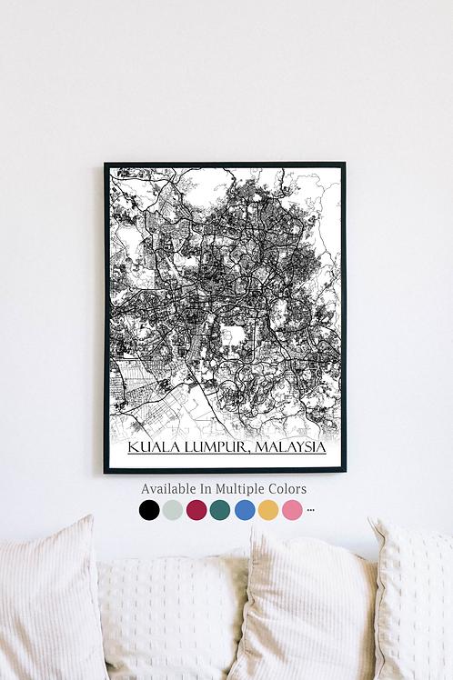 Print of Kuala Lumpur, Malaysia and all its roads