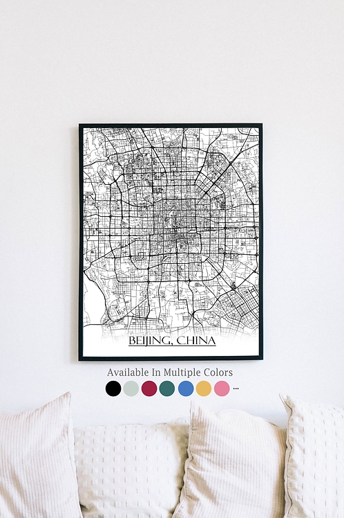 Print of Beijing, China and all its roads