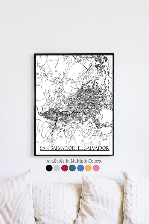 Print of San Salvador, El Salvador and all its roads