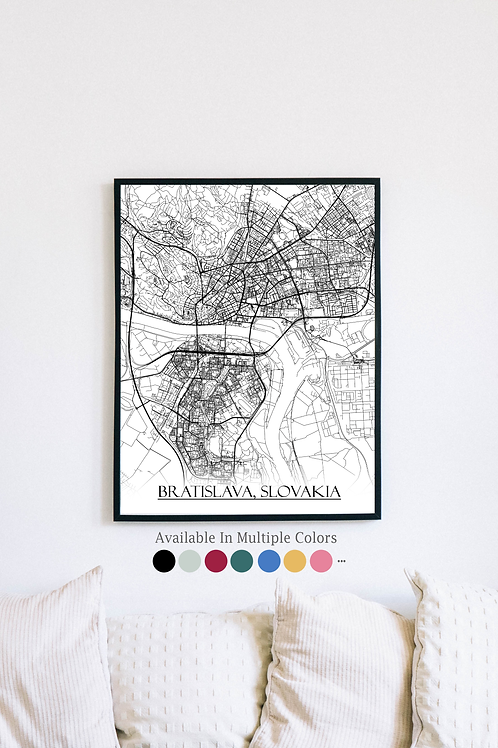 Print of Bratislava, Slovakia and all its roads