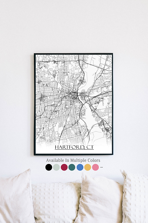 Print of Hartford, CT and all its roads