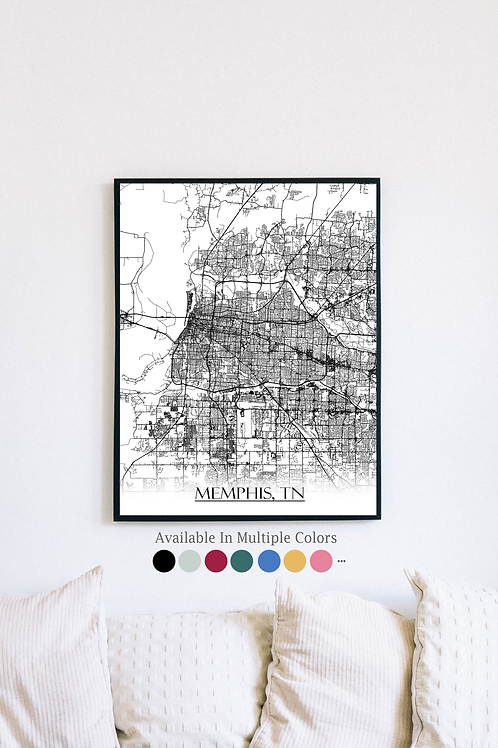Print of Memphis, TN and all its roads