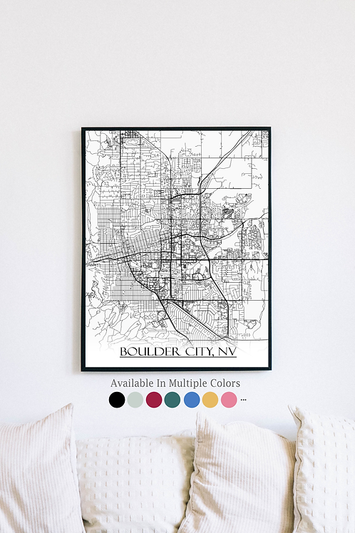 Print of Boulder City, NV and all its roads