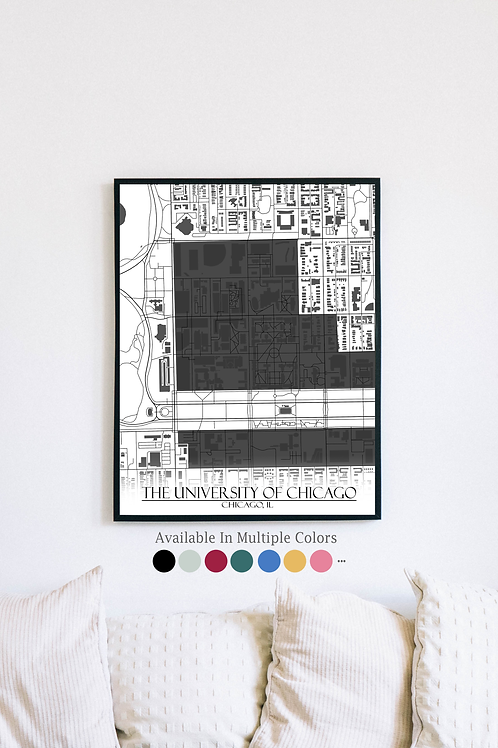 Print of University of Chicago and all its roads