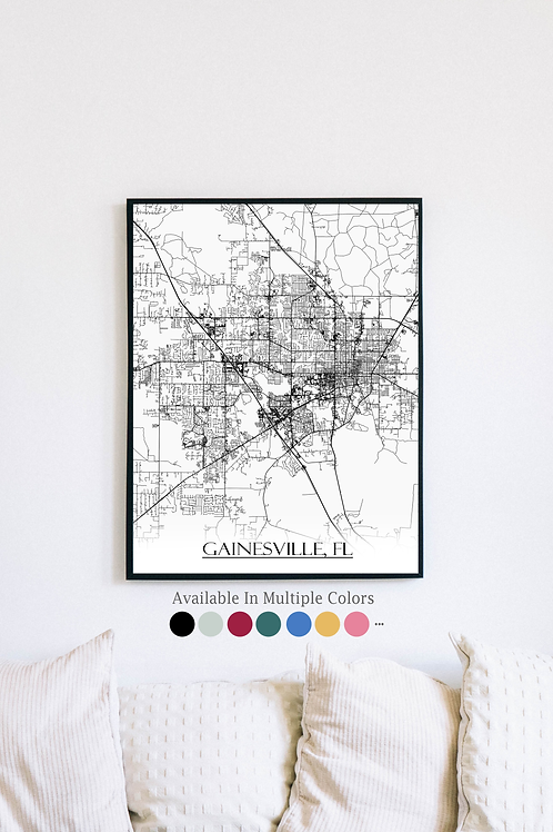 Print of Gainesville, FL and all its roads