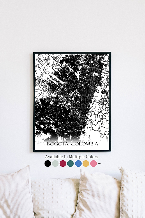 Print of Bogota, Colombia and all its roads