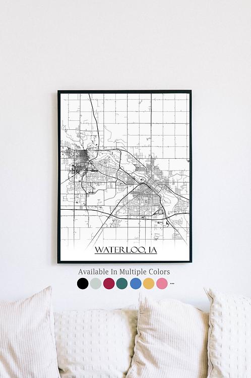 Print of Waterloo, IA and all its roads