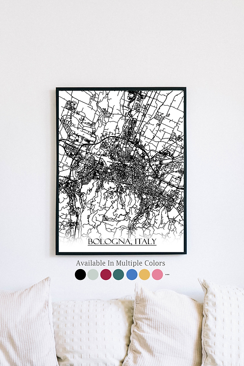 Print of Bologna, Italy and all its roads