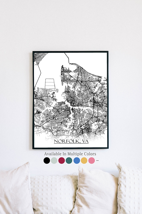Print of Norfolk, VA and all its roads