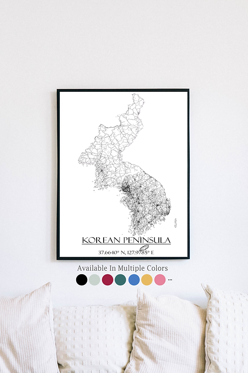 Print of Korean Peninsula and all its roads