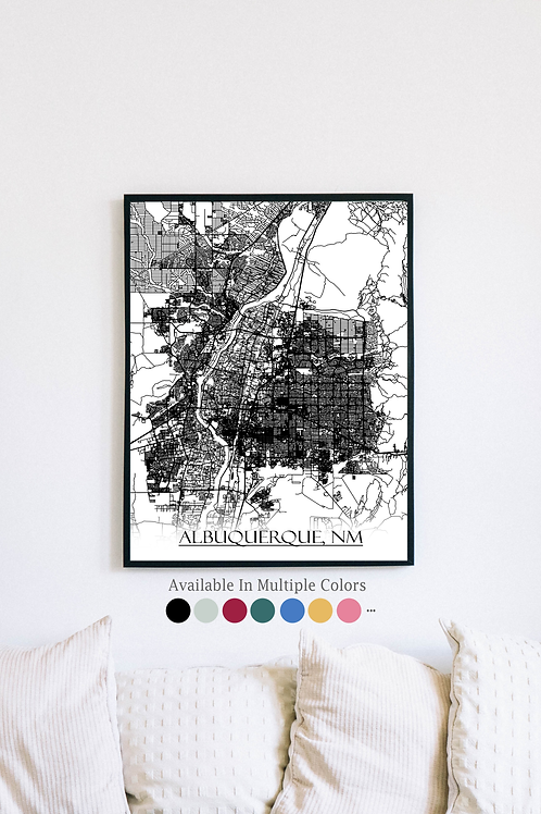 Print of Albuquerque, NM and all its roads