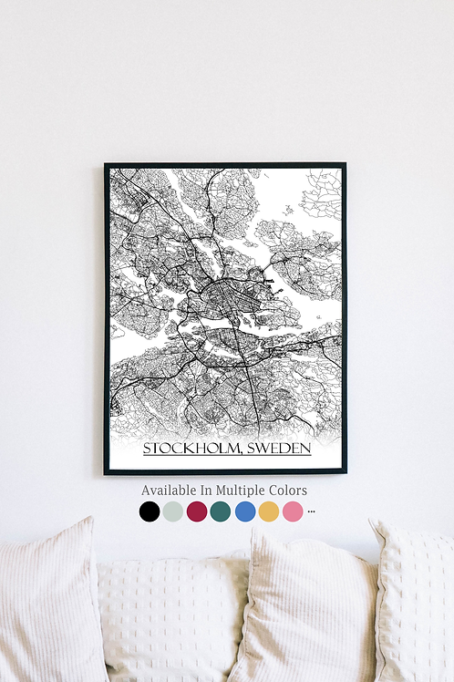 Print of Stockholm, Sweden and all its roads