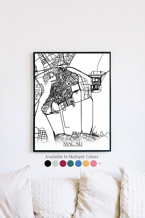 Print of Macau and all its roads