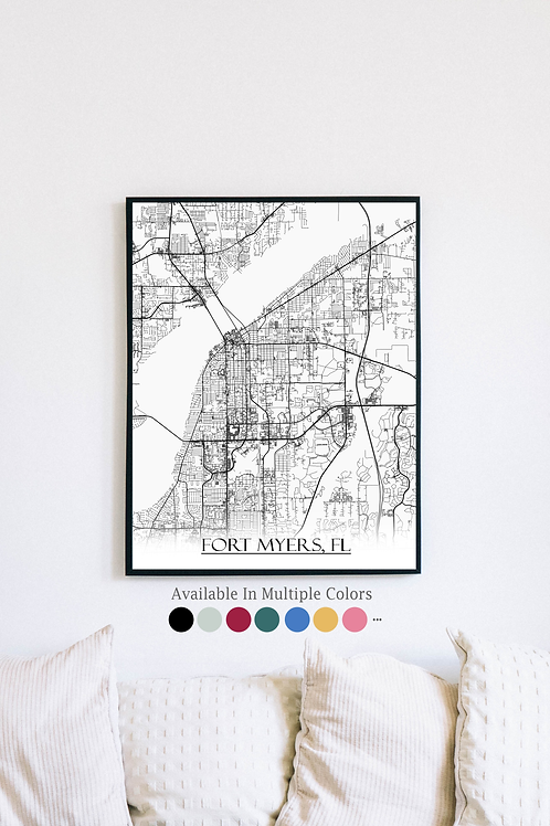Print of Fort Myers, FL and all its roads
