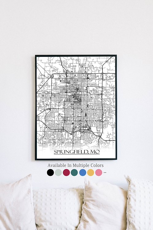 Print of Springfield, MO and all its roads