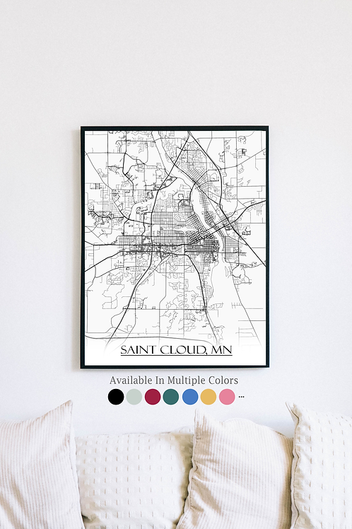 Print of Saint Cloud, MN and all its roads