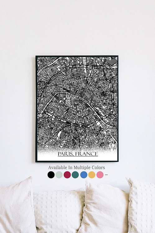 Print of Paris, France and all its roads
