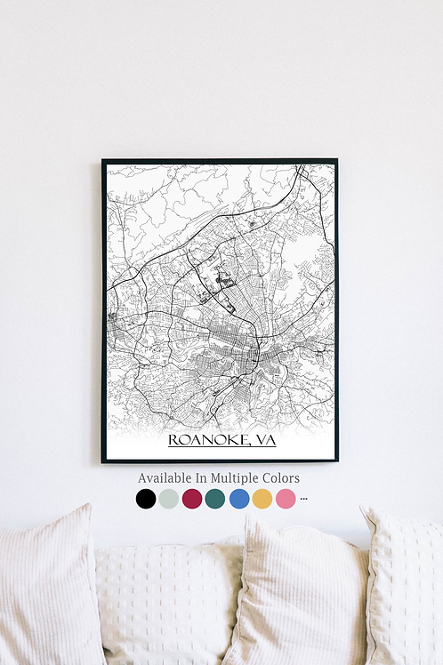 Print of Roanoke, VA and all its roads