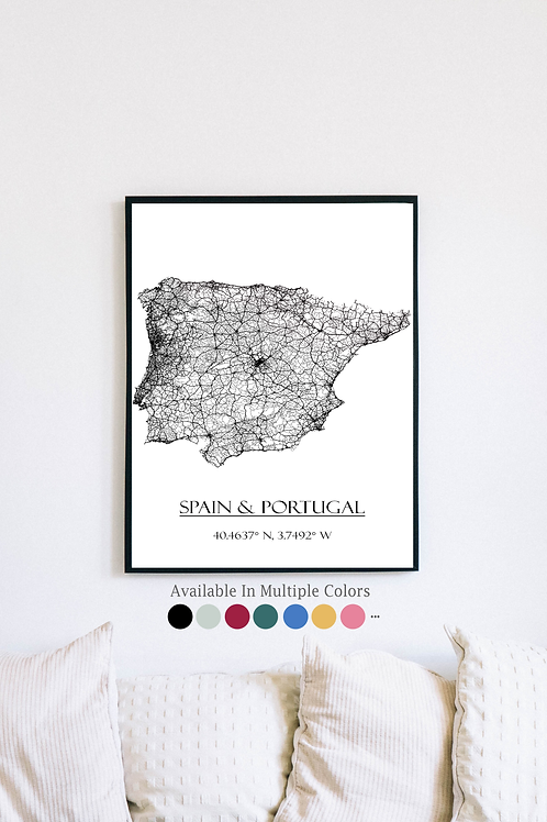 Print of Spain and all its roads