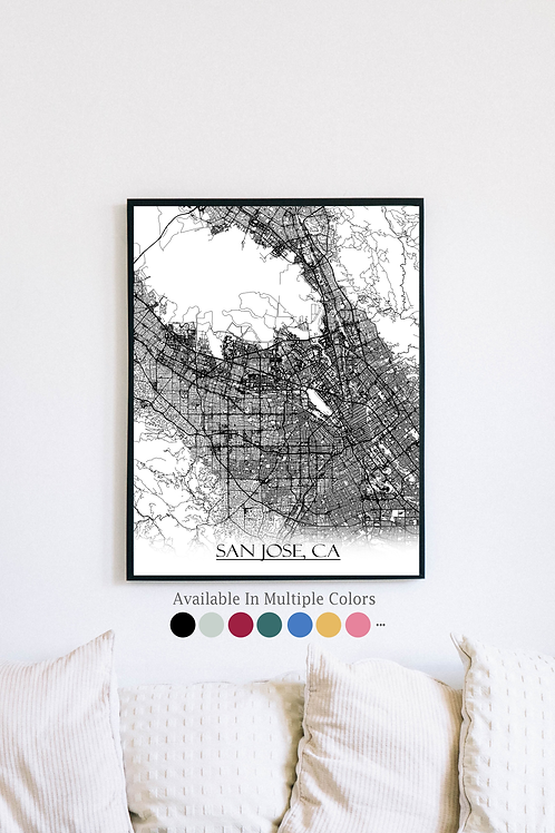 Print of San Jose, CA and all its roads