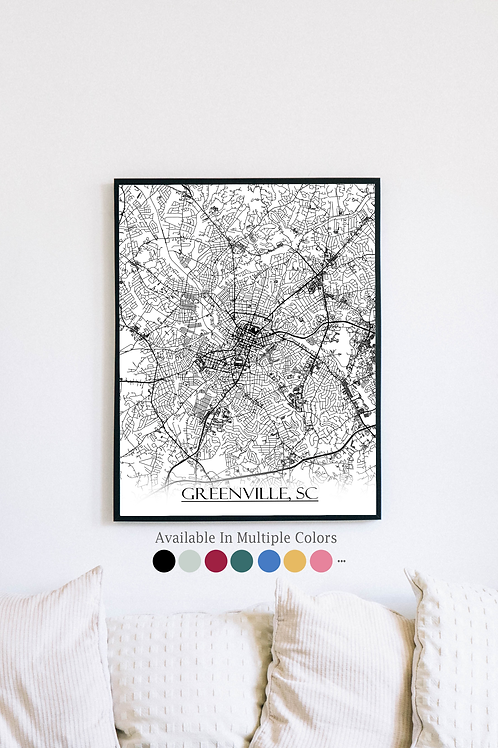 Print of Greenville, SC and all its roads