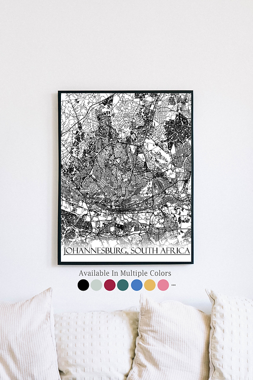 Print of Johannesburg, South Africa and all its roads